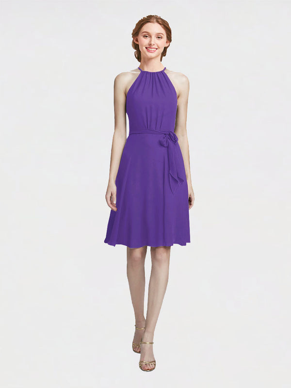 Mila Queen Elyse Bridesmaid Dress Purple - A-Line High Neck Halter Short Bridesmaid Gown Elyse in Purple