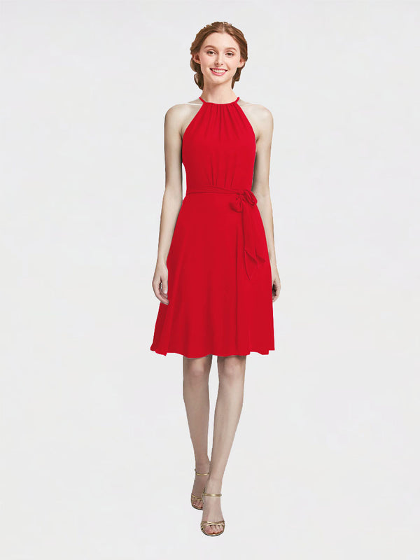 Mila Queen Elyse Bridesmaid Dress Red - A-Line High Neck Halter Short Bridesmaid Gown Elyse in Red