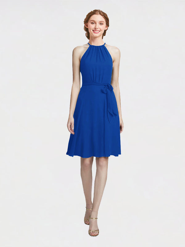 Mila Queen Elyse Bridesmaid Dress Royal Blue - A-Line High Neck Halter Short Bridesmaid Gown Elyse in Royal Blue