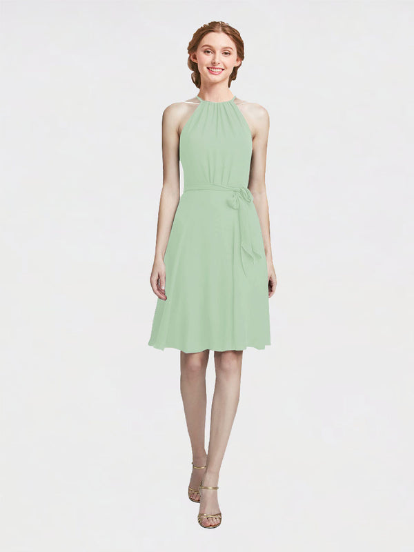 Mila Queen Elyse Bridesmaid Dress Sage - A-Line High Neck Halter Short Bridesmaid Gown Elyse in Sage
