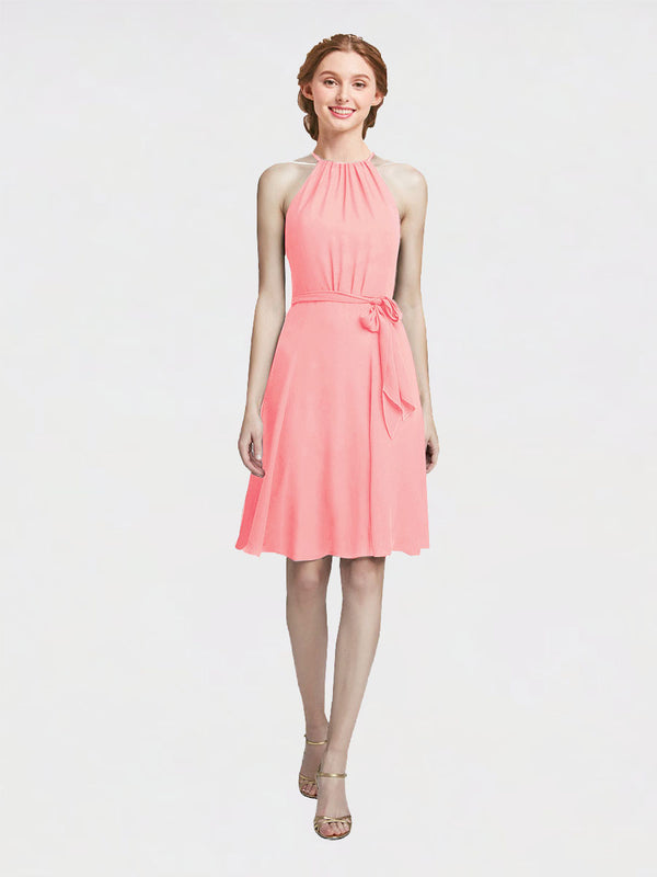 Mila Queen Elyse Bridesmaid Dress Salmon - A-Line High Neck Halter Short Bridesmaid Gown Elyse in Salmon