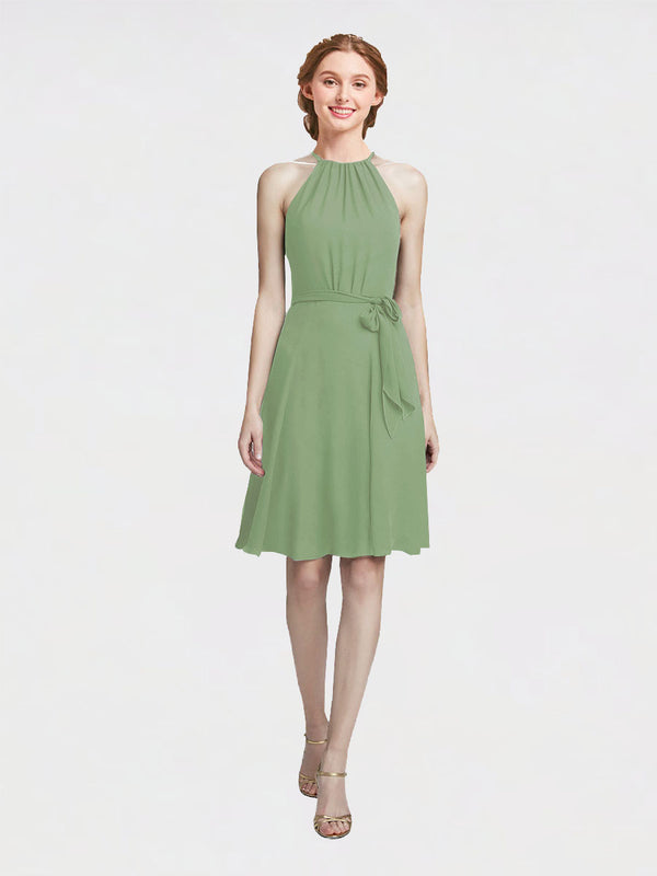 Mila Queen Elyse Bridesmaid Dress Seagrass - A-Line High Neck Halter Short Bridesmaid Gown Elyse in Seagrass