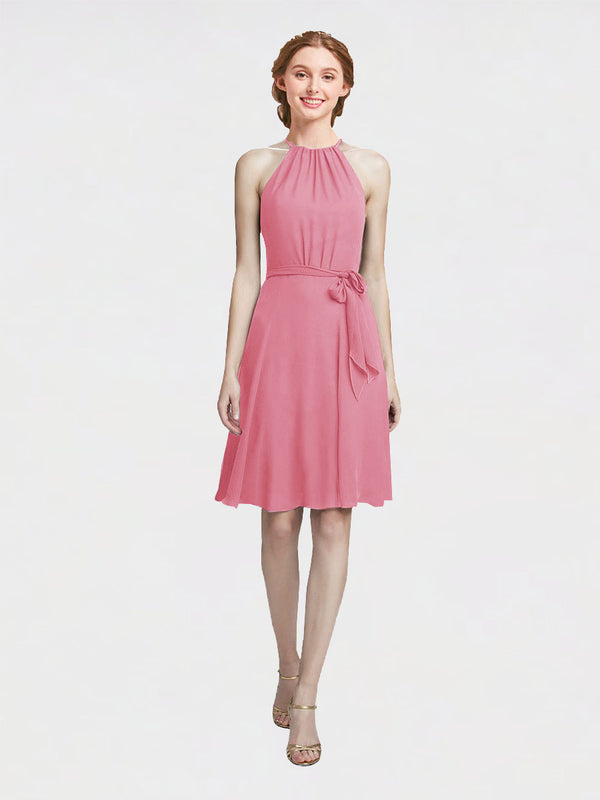 Mila Queen Elyse Bridesmaid Dress Skin Pink - A-Line High Neck Halter Short Bridesmaid Gown Elyse in Skin Pink