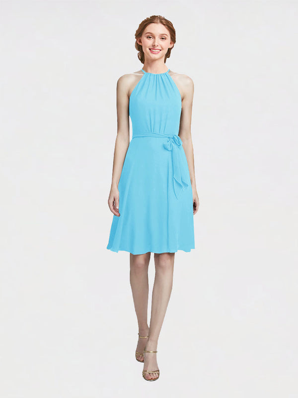 Mila Queen Elyse Bridesmaid Dress Sky Blue - A-Line High Neck Halter Short Bridesmaid Gown Elyse in Sky Blue
