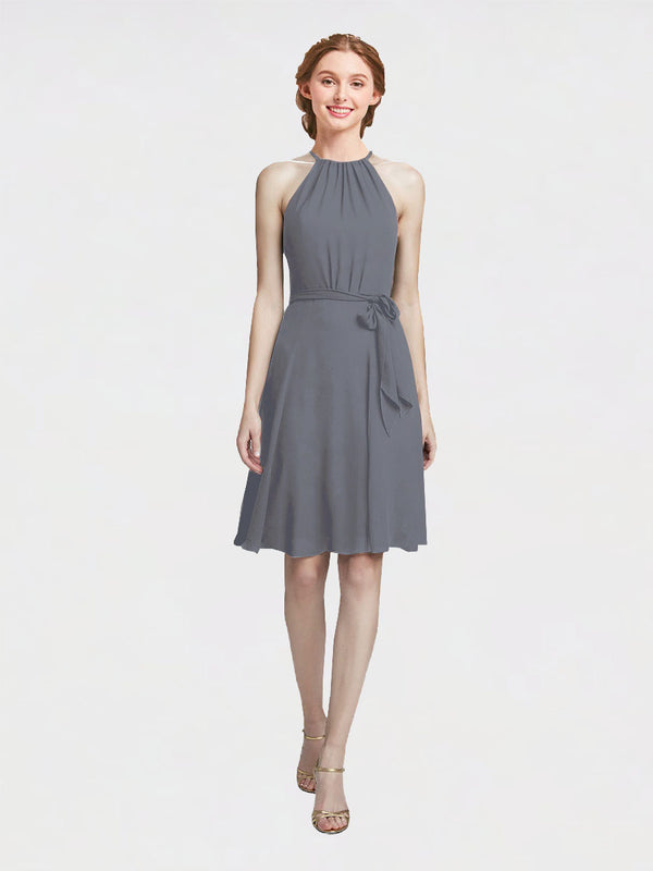 Mila Queen Elyse Bridesmaid Dress Slate Grey - A-Line High Neck Halter Short Bridesmaid Gown Elyse in Slate Grey