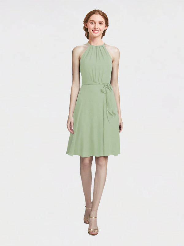 Mila Queen Elyse Bridesmaid Dress Smoke Green - A-Line High Neck Halter Short Bridesmaid Gown Elyse in Smoke Green
