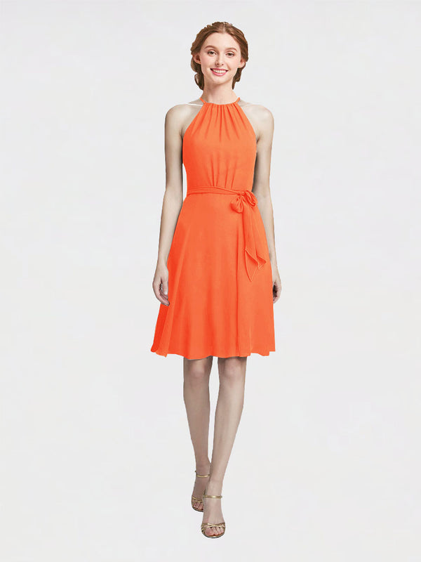 Mila Queen Elyse Bridesmaid Dress Tangerine Tango - A-Line High Neck Halter Short Bridesmaid Gown Elyse in Tangerine Tango