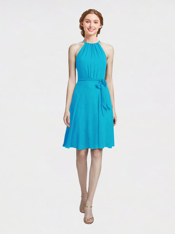 Mila Queen Elyse Bridesmaid Dress Turquoise - A-Line High Neck Halter Short Bridesmaid Gown Elyse in Turquoise