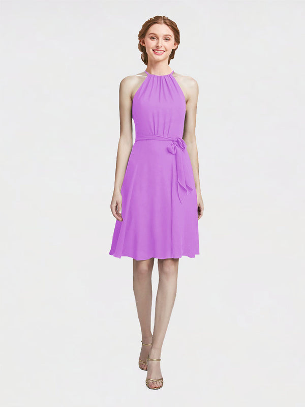 Mila Queen Elyse Bridesmaid Dress Violet - A-Line High Neck Halter Short Bridesmaid Gown Elyse in Violet