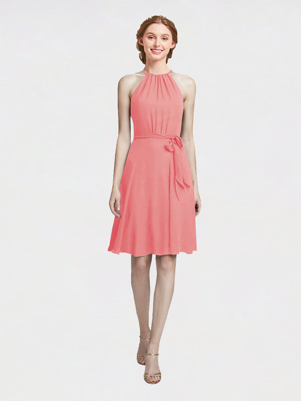 Mila Queen Elyse Bridesmaid Dress Watermelon - A-Line High Neck Halter Short Bridesmaid Gown Elyse in Watermelon