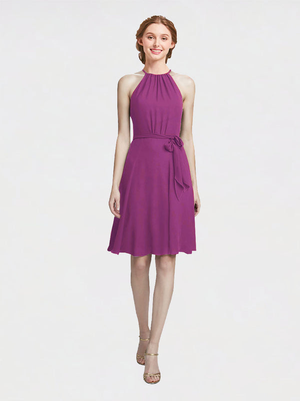 Mila Queen Elyse Bridesmaid Dress Wild Berry - A-Line High Neck Halter Short Bridesmaid Gown Elyse in Wild Berry