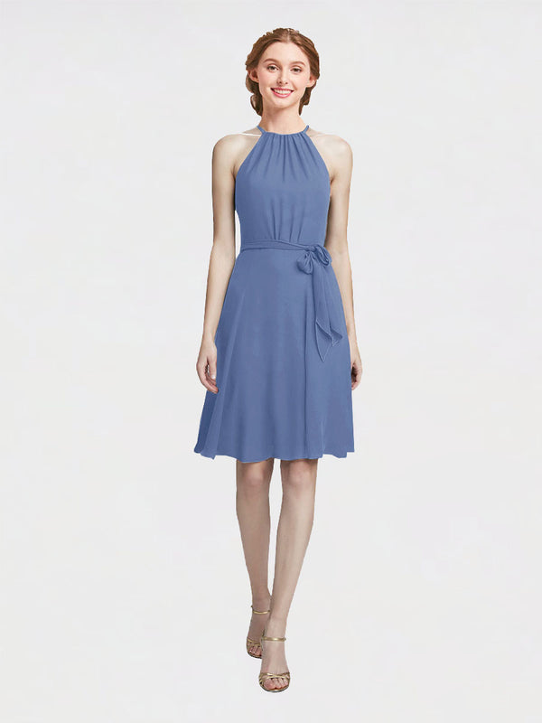 Mila Queen Elyse Bridesmaid Dress Windsor Blue - A-Line High Neck Halter Short Bridesmaid Gown Elyse in Windsor Blue