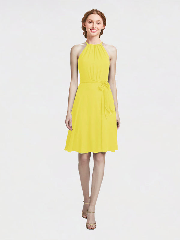 Mila Queen Elyse Bridesmaid Dress Yellow - A-Line High Neck Halter Short Bridesmaid Gown Elyse in Yellow