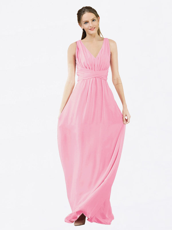 Mila Queen Ava Bridesmaid Dress Barely Pink - A-Line V-Neck Long Bridesmaid Gown Ava in Barely Pink