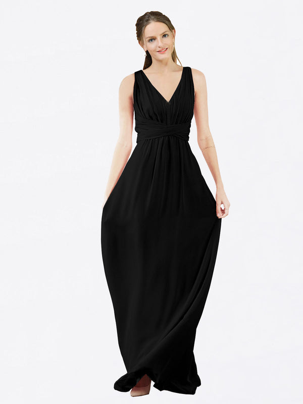 Mila Queen Ava Bridesmaid Dress Black - A-Line V-Neck Long Bridesmaid Gown Ava in Black