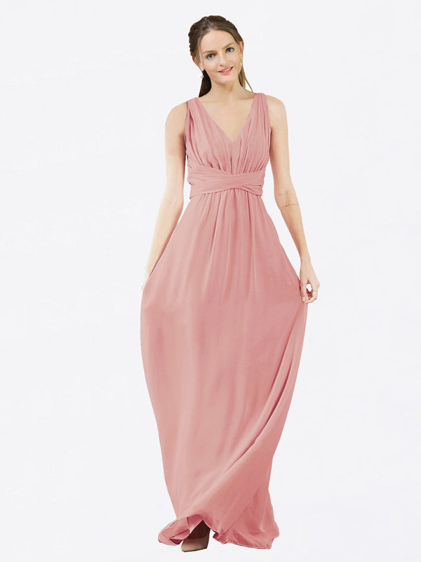 Mila Queen Ava Bridesmaid Dress Bliss - A-Line V-Neck Long Bridesmaid Gown Ava in Bliss