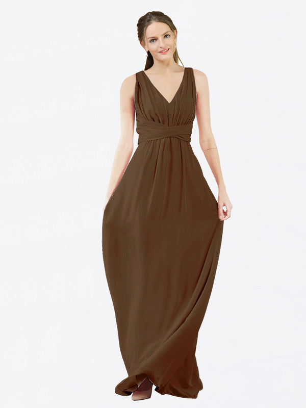 Mila Queen Ava Bridesmaid Dress Brown - A-Line V-Neck Long Bridesmaid Gown Ava in Brown