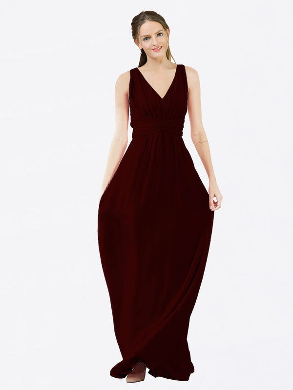Mila Queen Ava Bridesmaid Dress Burgundy Gold - A-Line V-Neck Long Bridesmaid Gown Ava in Burgundy Gold