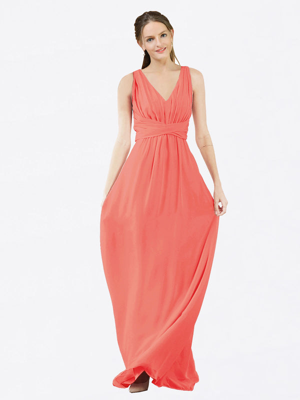Mila Queen Ava Bridesmaid Dress Coral - A-Line V-Neck Long Bridesmaid Gown Ava in Coral
