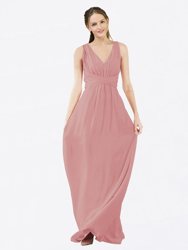 Mila Queen Ava Bridesmaid Dress Dusty Pink - A-Line V-Neck Long Bridesmaid Gown Ava in Dusty Pink