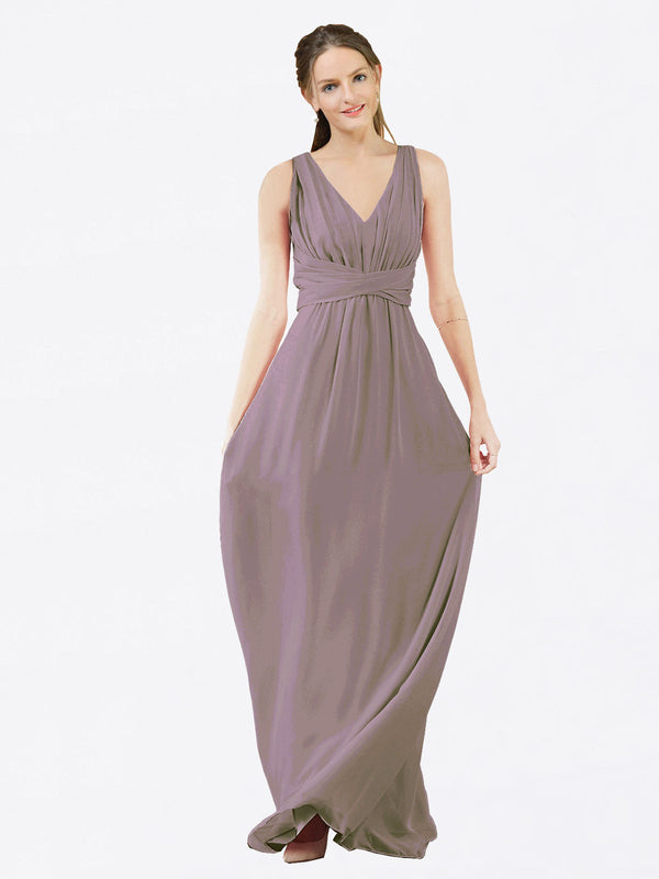 Mila Queen Ava Bridesmaid Dress Dusty Rose - A-Line V-Neck Long Bridesmaid Gown Ava in Dusty Rose