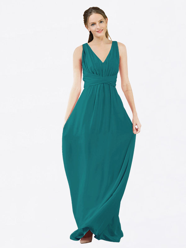 Mila Queen Ava Bridesmaid Dress Hunter - A-Line V-Neck Long Bridesmaid Gown Ava in Hunter