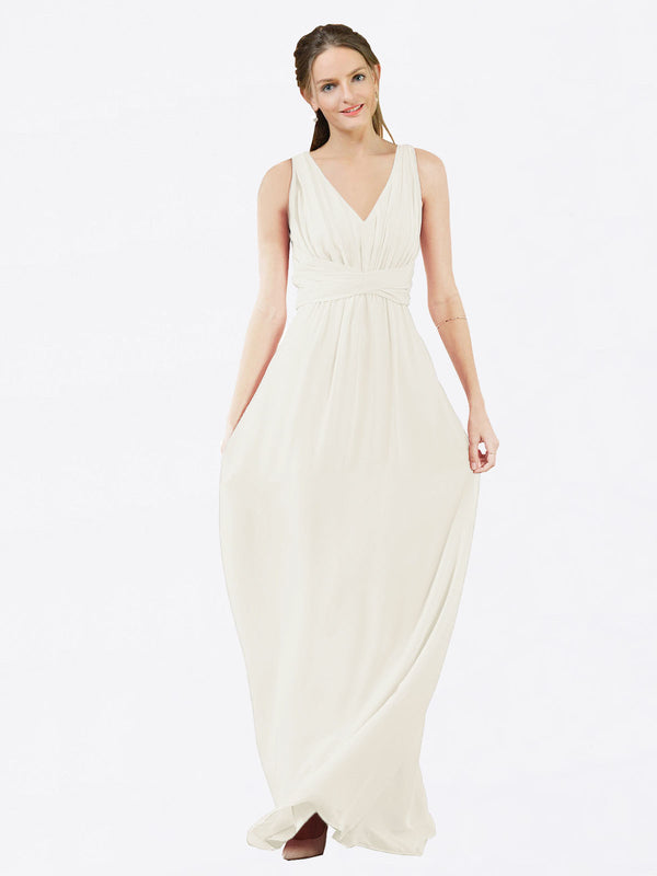 Mila Queen Ava Bridesmaid Dress Ivory - A-Line V-Neck Long Bridesmaid Gown Ava in Ivory