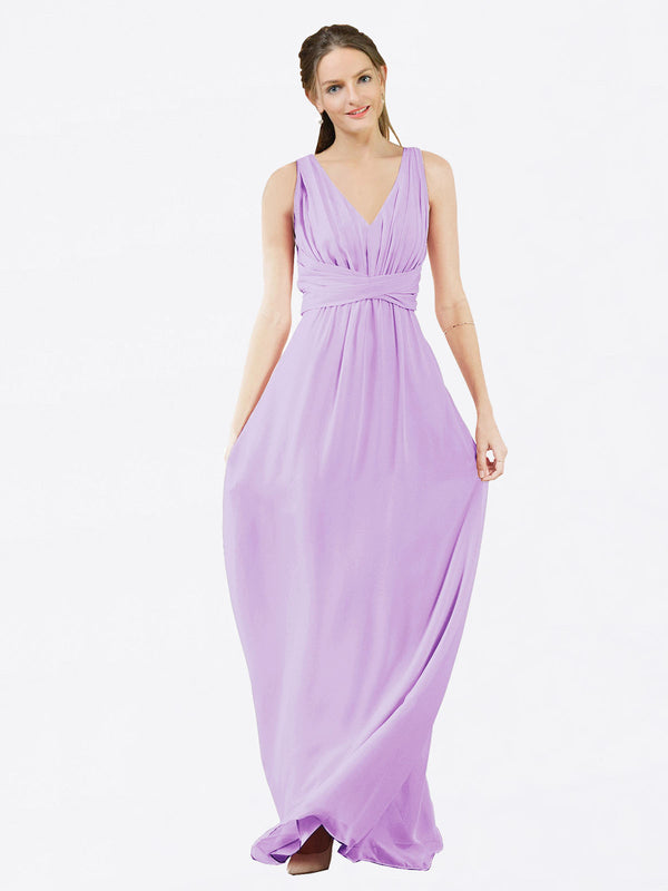 Mila Queen Ava Bridesmaid Dress Lilac - A-Line V-Neck Long Bridesmaid Gown Ava in Lilac