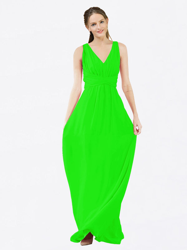 Mila Queen Ava Bridesmaid Dress Lime Green - A-Line V-Neck Long Bridesmaid Gown Ava in Lime Green
