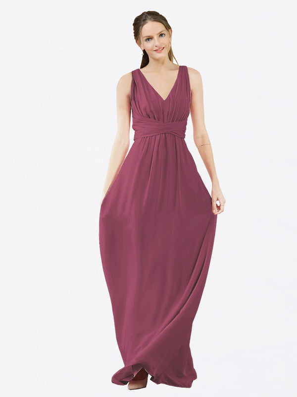 Mila Queen Ava Bridesmaid Dress Mauve Taupe - A-Line V-Neck Long Bridesmaid Gown Ava in Mauve Taupe