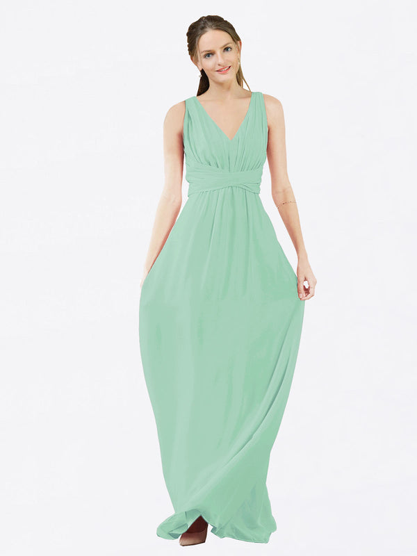 Mila Queen Ava Bridesmaid Dress Mint Green - A-Line V-Neck Long Bridesmaid Gown Ava in Mint Green