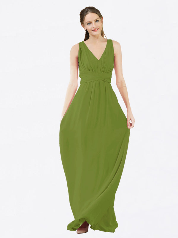 Mila Queen Ava Bridesmaid Dress Olive Green - A-Line V-Neck Long Bridesmaid Gown Ava in Olive Green