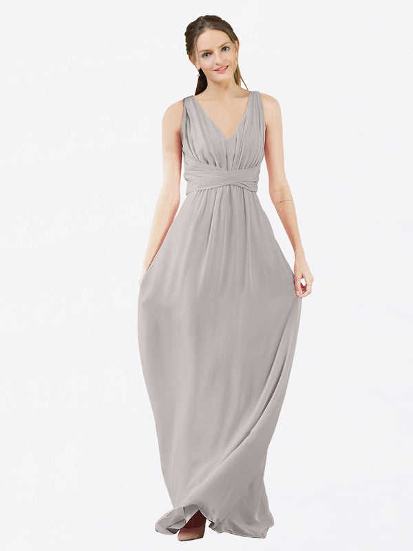 Mila Queen Ava Bridesmaid Dress Oyster Silver - A-Line V-Neck Long Bridesmaid Gown Ava in Oyster Silver