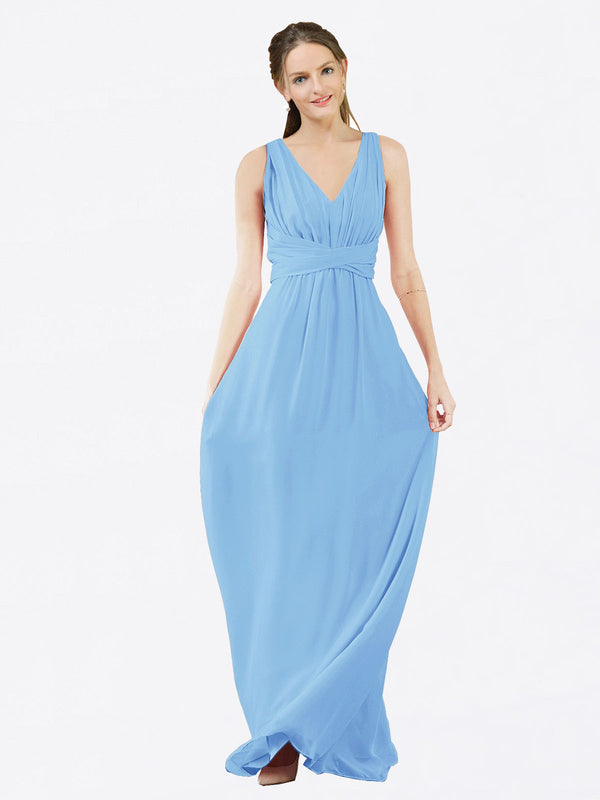 Mila Queen Ava Bridesmaid Dress Periwinkle - A-Line V-Neck Long Bridesmaid Gown Ava in Periwinkle