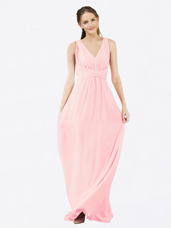 Mila Queen Ava Bridesmaid Dress Pink - A-Line V-Neck Long Bridesmaid Gown Ava in Pink