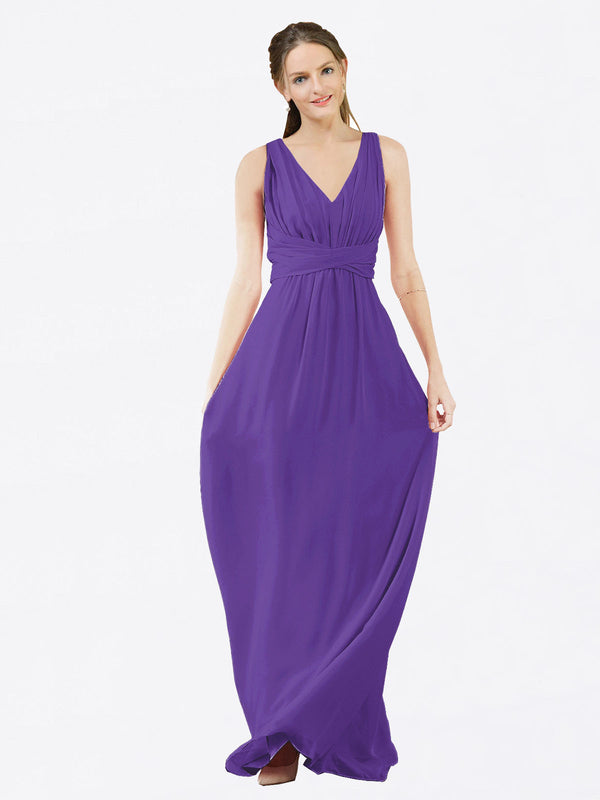 Mila Queen Ava Bridesmaid Dress Purple - A-Line V-Neck Long Bridesmaid Gown Ava in Purple