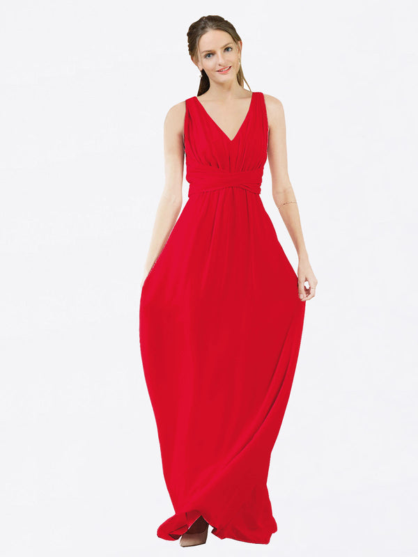 Mila Queen Ava Bridesmaid Dress Red - A-Line V-Neck Long Bridesmaid Gown Ava in Red