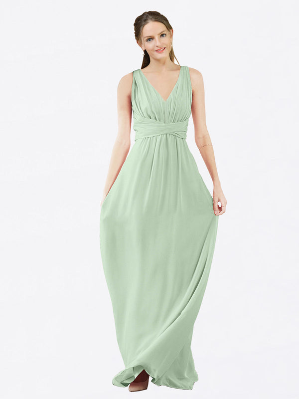 Mila Queen Ava Bridesmaid Dress Sage - A-Line V-Neck Long Bridesmaid Gown Ava in Sage