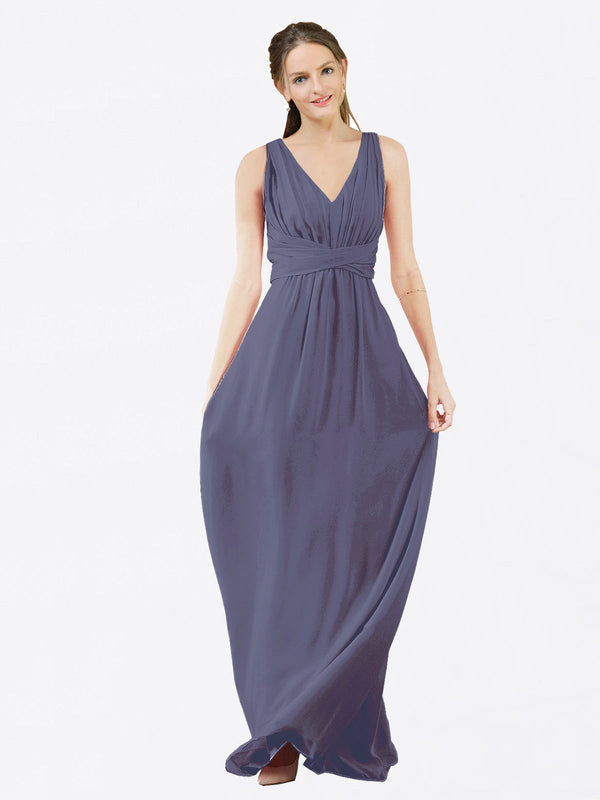 Mila Queen Ava Bridesmaid Dress Silver Stone - A-Line V-Neck Long Bridesmaid Gown Ava in Silver Stone