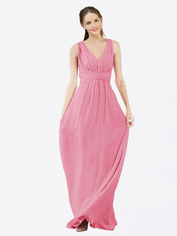 Mila Queen Ava Bridesmaid Dress Skin Pink - A-Line V-Neck Long Bridesmaid Gown Ava in Skin Pink