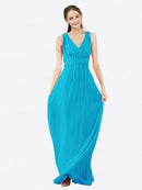 Mila Queen Ava Bridesmaid Dress Turquoise - A-Line V-Neck Long Bridesmaid Gown Ava in Turquoise
