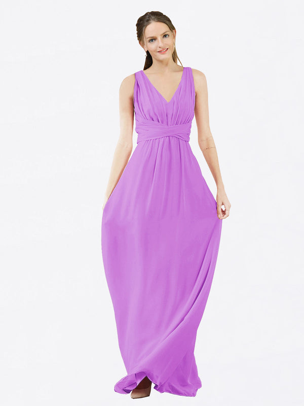 Mila Queen Ava Bridesmaid Dress Violet - A-Line V-Neck Long Bridesmaid Gown Ava in Violet