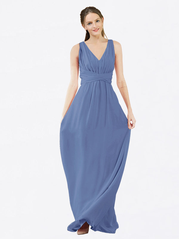 Mila Queen Ava Bridesmaid Dress Windsor Blue - A-Line V-Neck Long Bridesmaid Gown Ava in Windsor Blue
