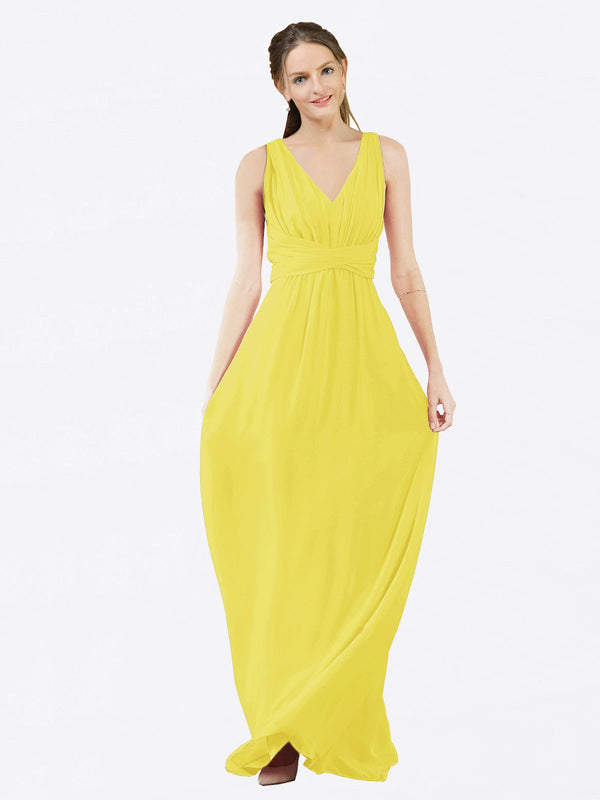 Mila Queen Ava Bridesmaid Dress Yellow - A-Line V-Neck Long Bridesmaid Gown Ava in Yellow