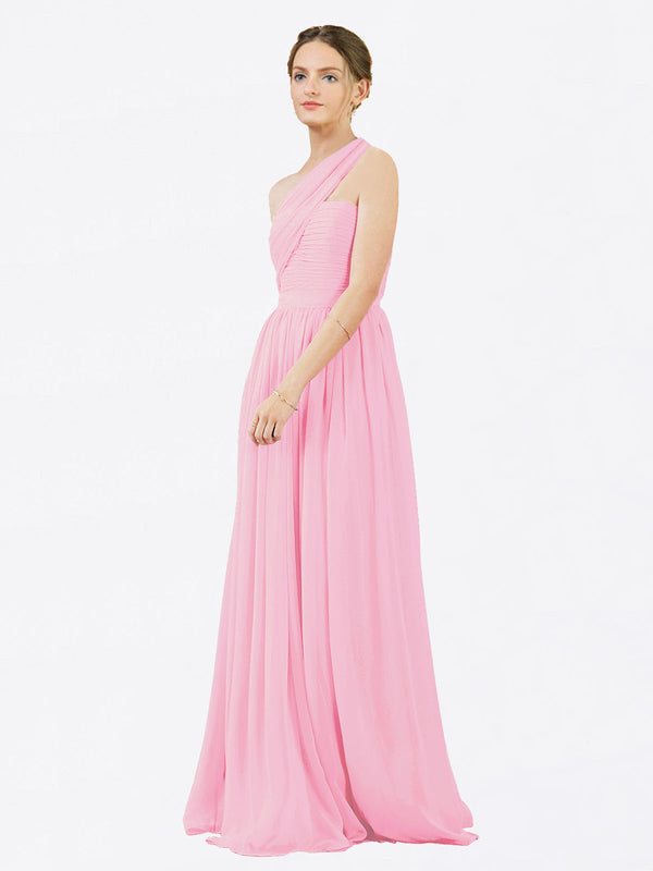 Mila Queen Chloe Bridesmaid Dress Barely Pink - A-Line One Shoulder Long Bridesmaid Gown Chloe in Barely Pink