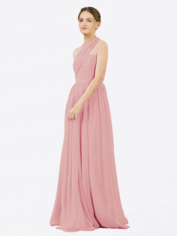 Mila Queen Chloe Bridesmaid Dress Bliss - A-Line One Shoulder Long Bridesmaid Gown Chloe in Bliss