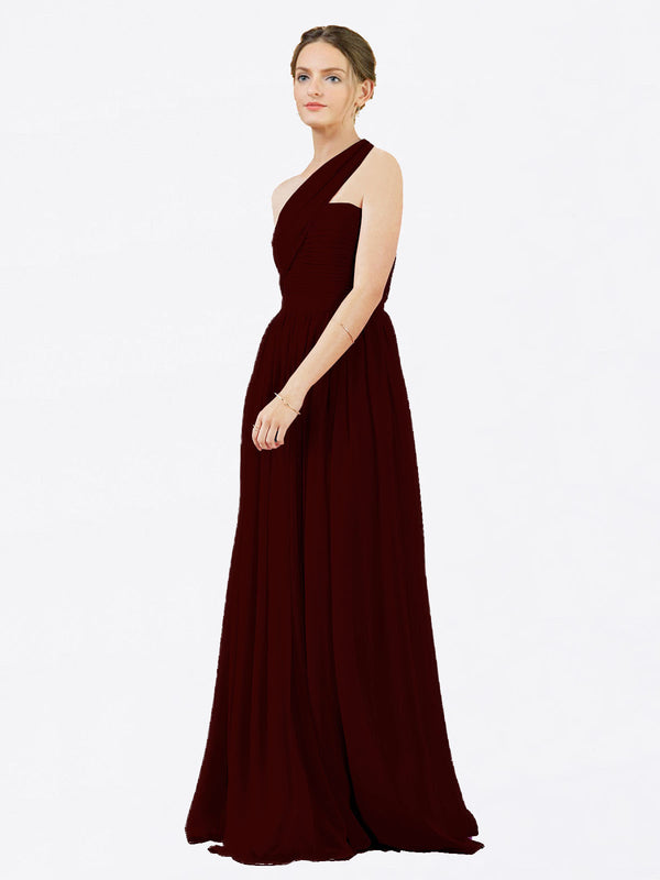 Mila Queen Chloe Bridesmaid Dress Burgundy Gold - A-Line One Shoulder Long Bridesmaid Gown Chloe in Burgundy Gold