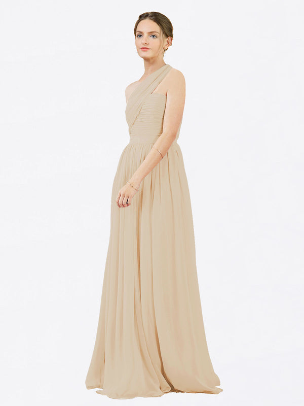 Mila Queen Chloe Bridesmaid Dress Champagne - A-Line One Shoulder Long Bridesmaid Gown Chloe in Champagne