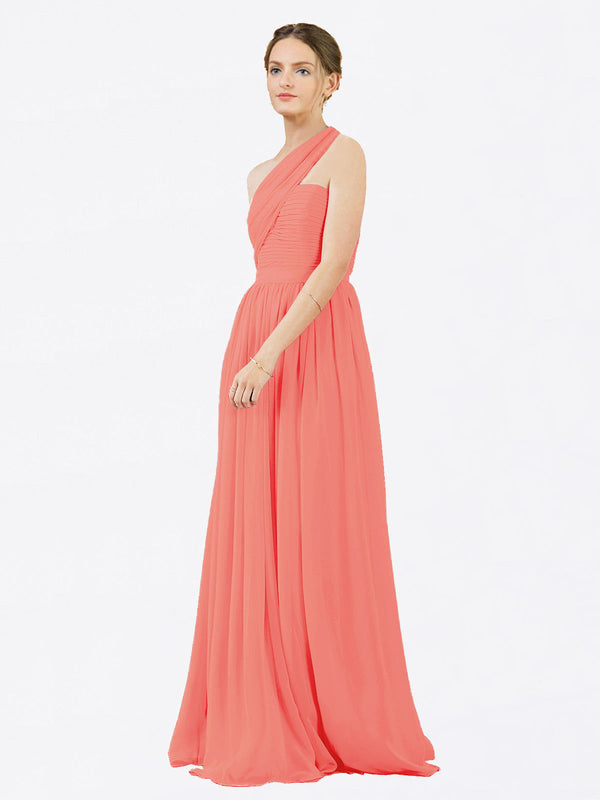 Mila Queen Chloe Bridesmaid Dress Coral - A-Line One Shoulder Long Bridesmaid Gown Chloe in Coral