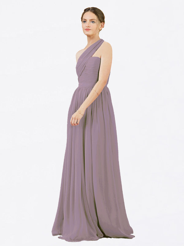 Mila Queen Chloe Bridesmaid Dress Dusty Rose - A-Line One Shoulder Long Bridesmaid Gown Chloe in Dusty Rose